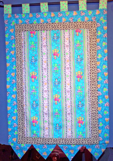 Window Curtain Panel made with Sweetheart Ballerinas fabric by Phyllis Dobbs for Quilting Treasures