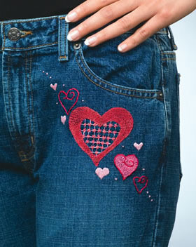 Hearts Denimbroidery kit