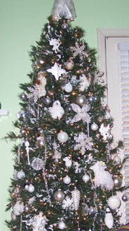 White decorated Christmas tree