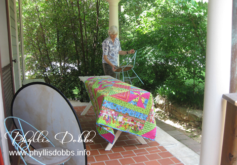 Asymmetrical Quilts book photography photostyling on deck