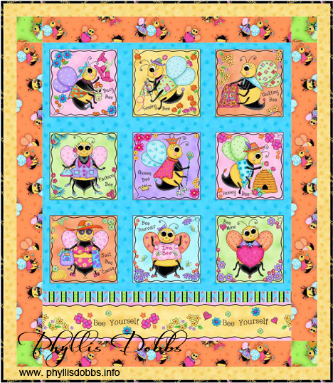 Free quilt patterns Bee Yourself  designed by Phyllis Dobbs with Bee Yourself Fabric for Quilting Treasures