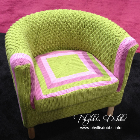 Bernat Green crocheted chair at CHA