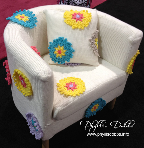 Crochet and knit chair at winter CHA by Bernat