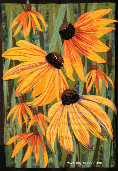 Quilt Black-Eyed Susans & Yellow Mexican Hats at Houston Quilt Market