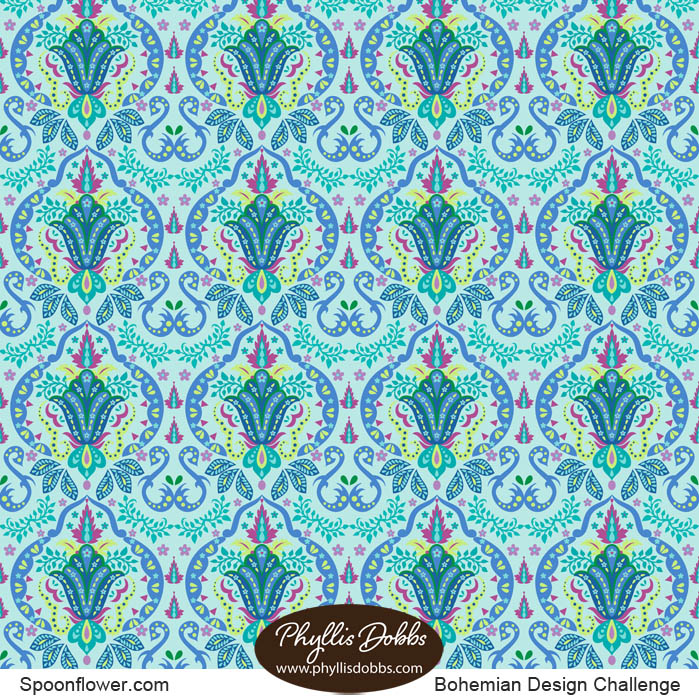 Mod Floral Damask Deco Turquoise