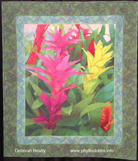 Bromeliads quilt at Houston Quilt Market by Deborah Beatty