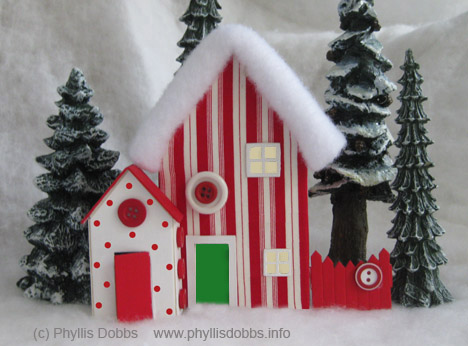 Christmas Candy Cane House from Sizzix die