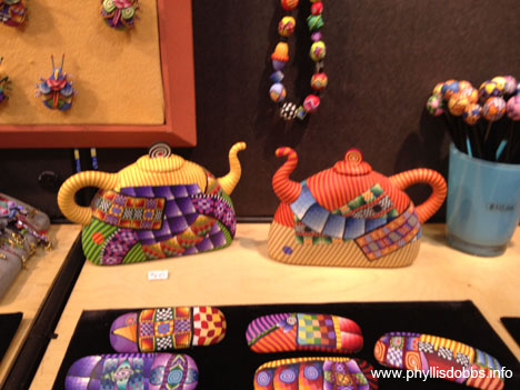 Fimo Polymer clay teapots at Quilt Market in Houston
