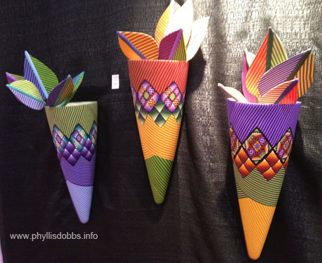 Fimo Polymer Clay vases at Quilt Market