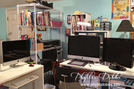 Computer area in the Phyllis Dobbs' studio