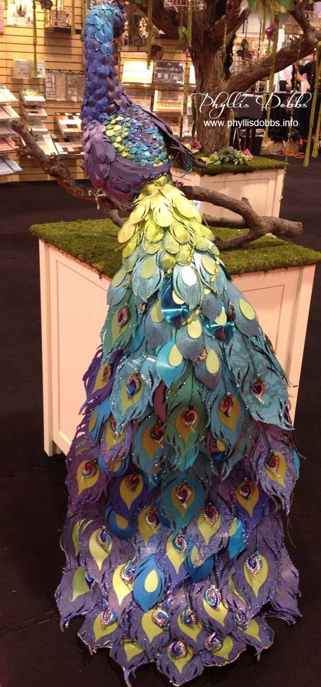 Paper sculpture Peacock by DCWV at CHA show