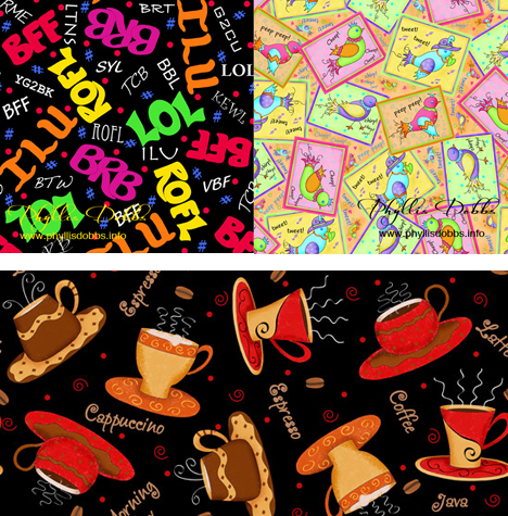 Coffee Cups, Bird Patch, Texting Lingo fabrics by Phyllis Dobbs