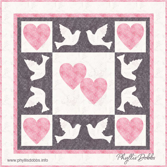 Dove and Heart Wedding Quilt Pattern