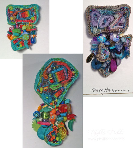 Meg Hannan fabric jewelry at Quilt Market