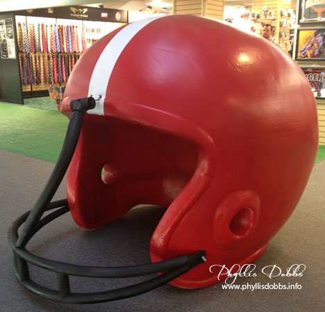 Large red and white football helment