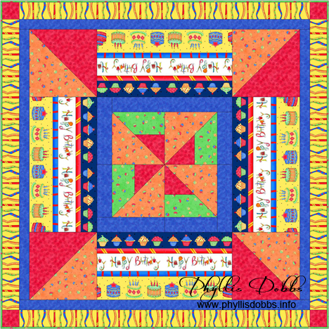 Celebrate Happy Birthday Table topper quilt free pattern