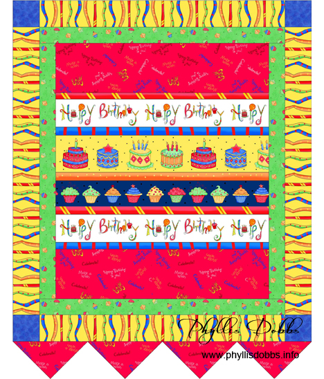 Happy Birthday banner made with Celebrate fabrics