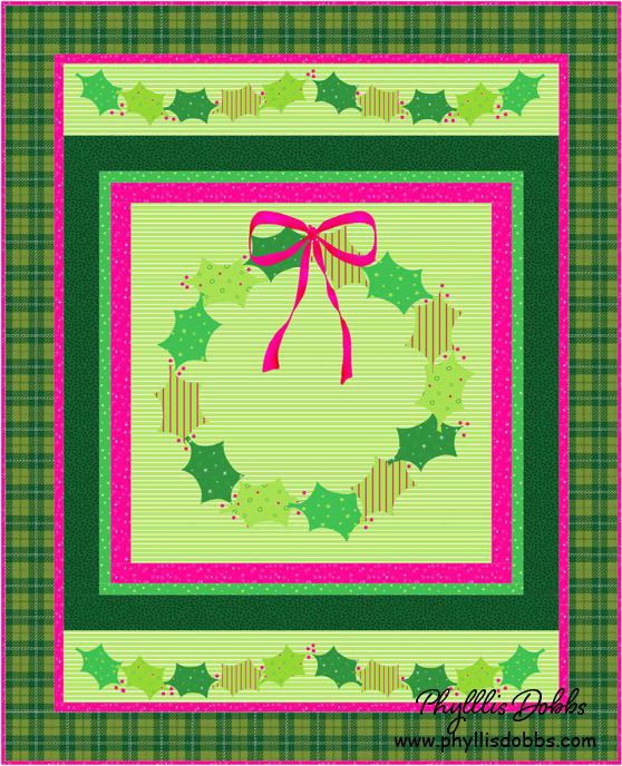 Christmas Holly Applique Quilt Pattern