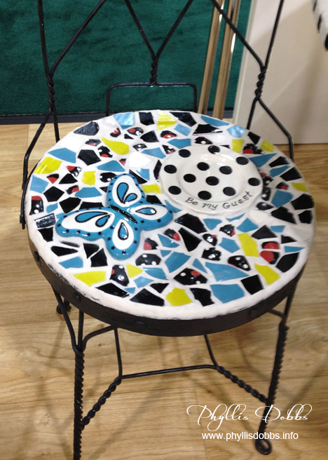 Broken china mosaic chair by ILovetoCreate at CHA