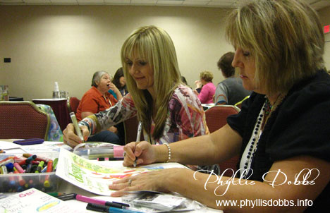 Karen Embry and Brenda Pinnick in art journaling class