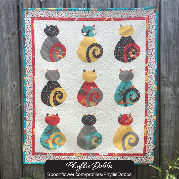Kitty Cat Wholecloth Quilt top Spoonflower