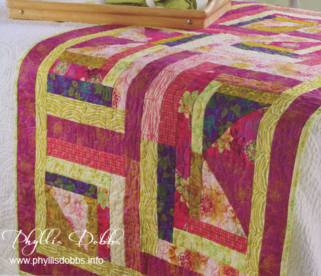 Log Cabin Bed Runner Quilt Phyllis Dobbs