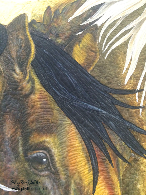 One Fine Day wild horse quilt detail