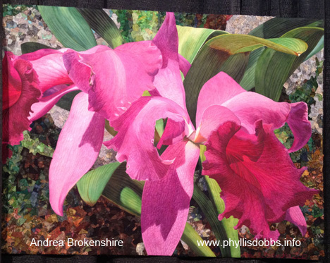 Heidis Schlowers orchid quilt on display at Houston Quilt Market