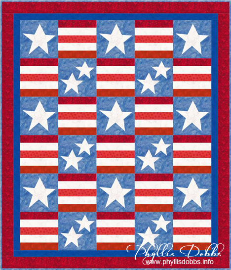 Patriotism quilt, red white & blue
