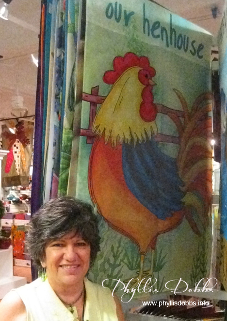 Our Henhouse Rooster Garden Flag designed by Phyllis Dobbs for Evergreen Enterprises