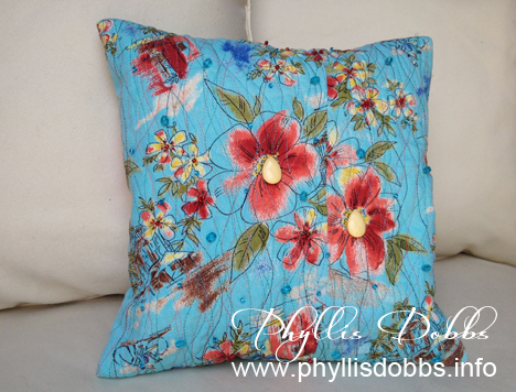 Upcycled decorative pillow by Phyllis Dobbs