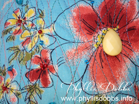 Close up detail of upcycled pillow by Phyllis Dobbs