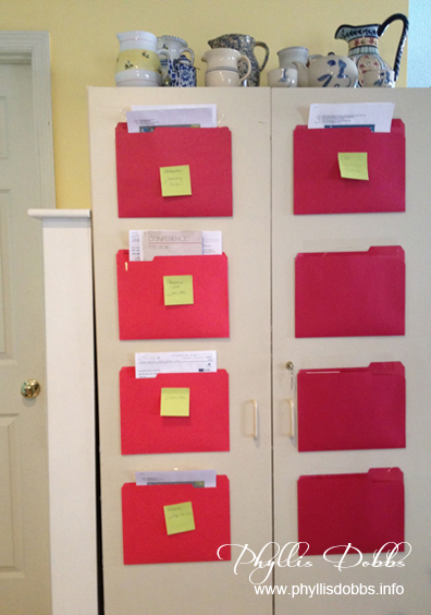 Red folders for organization