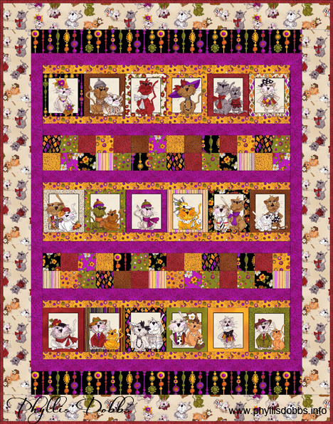 Spice Cats Quilt free pattern from Quilting Treasures