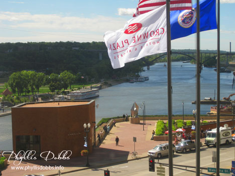 Mississippi River view from my hotel in St. Paul