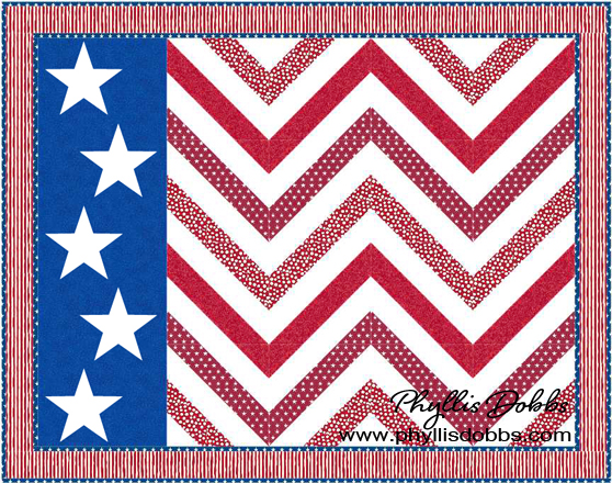 Stars and Stripes Waving Flag Quilt pattern