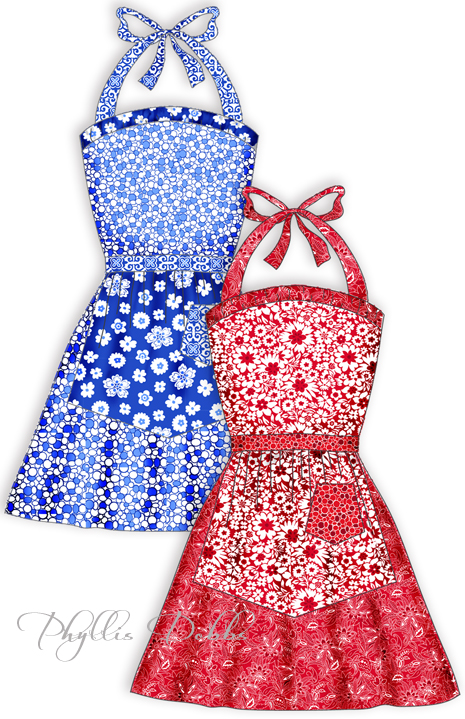 Aprons in red or blue colors
