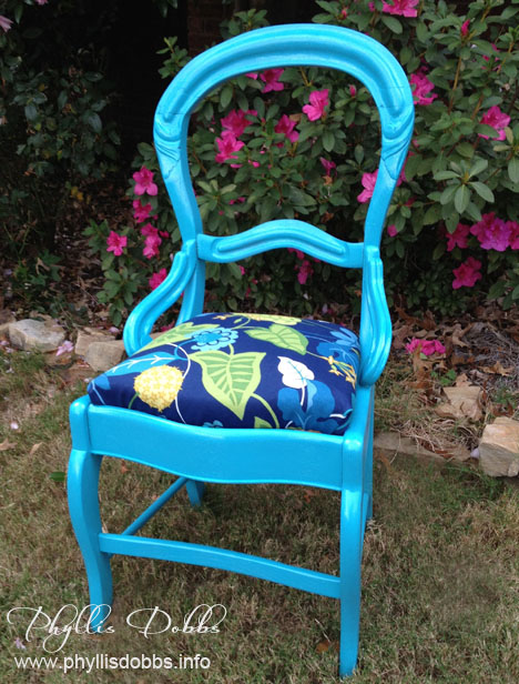 Turquoise painted chair