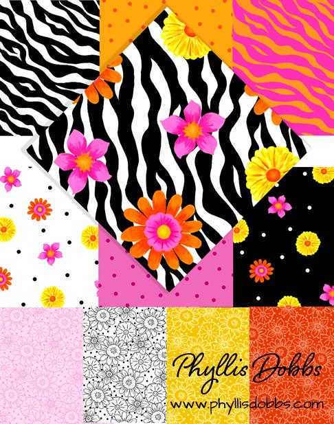 Wild Flower Zebra Skin Fabrics by Phyllis Dobbs