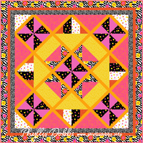 Free quilt Pattern - zebra print and flowers