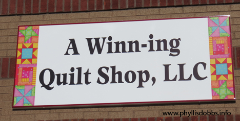 Winn-ing Quilt Shop Store Sign
