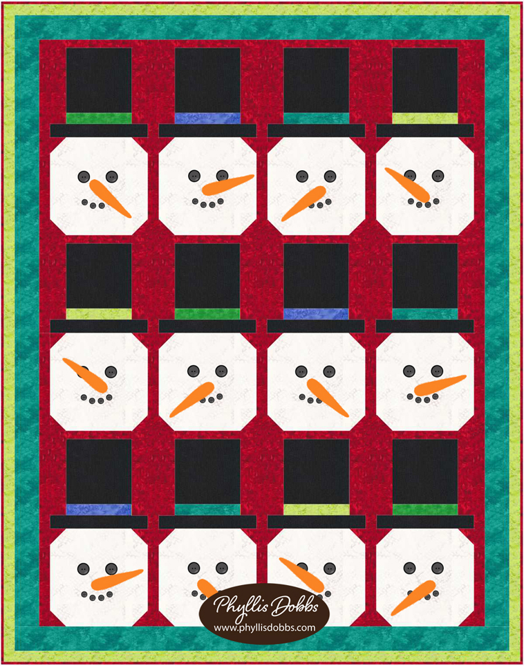Winter Top Hat Snowman Quilt Pattern