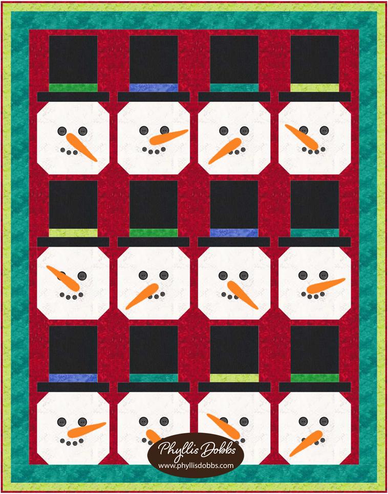 Winter Top Hat Snowman Quilt Pattern