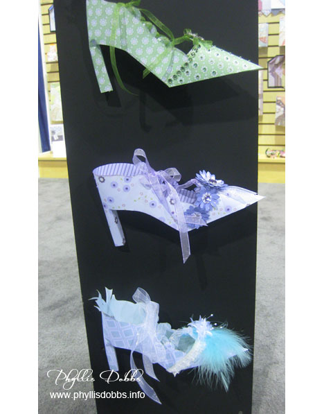 Paper shoes on display in the Zutter booth at the CHA show