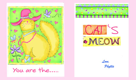Greeting card created with Meow Meow cat fabrics