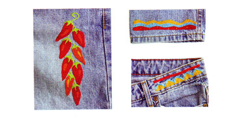 Chili Pepper Jean embroidery