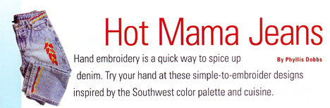 Hot Mama jean embroidery