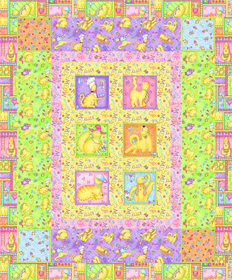 Meow Meow cat fabric quilt