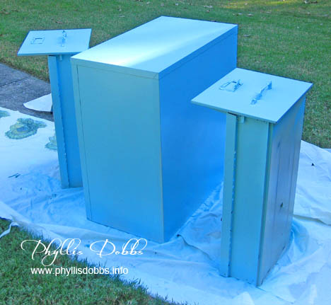 Phyllis Dobbs painting filing cabinet turquoise