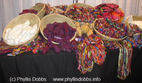 Baskets of silk yarn